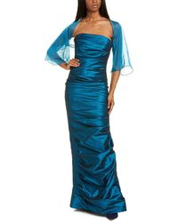 Teri Jon By Rickie Freeman Ruched Gown - Blue