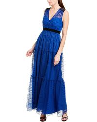 BCBGMAXAZRIA Maxazria Dot Maxi Dress - Blue