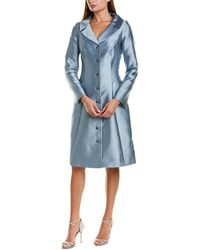 Teri Jon By Rickie Freeman Silk-blend Coat Dress - Blue