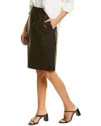 Theory Drawstring Leather Mini Skirt - Black