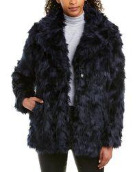 Vince Camuto Shaggy Faux - Fur Coat - Blue