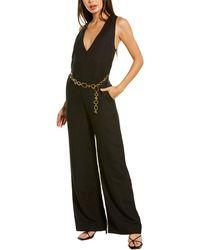 Solid & Striped Belted Linen-blend Jumpsuit - Black