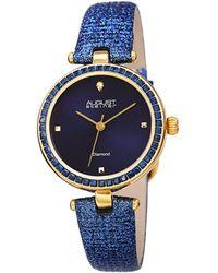 August Steiner Women's Leather Diamond Watch - Multicolour