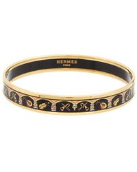 Hermès Plated Printed Enamel Narrow Bangle - Metallic