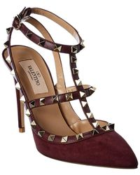 Valentino Rockstud Caged 100 Leather & Suede Ankle Strap Sandal - Purple