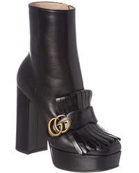 Gucci Fringe Leather Platform Boot - Black