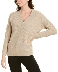 Vince Overlap Wool-blend Tunic - Brown