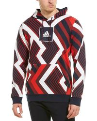 adidas Allover Print Hoodie - Red