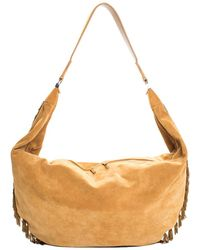 The Row Tan Suede Sling 19 Fringe Hobo Bag - Multicolour