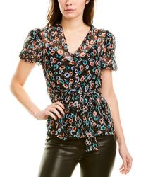 Jason Wu Rose Floral Silk Top - Black