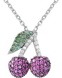 Gabi Rielle Silver Cz Ruby Cherry Necklace - Multicolour