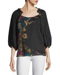 Nanette Lepore Printed Silk Blouse - Black
