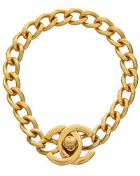 Chanel - Gold-tone Small Cc Turnlock Bracelet - Lyst
