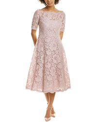 Teri Jon Floral Lace A-line Dress - Pink