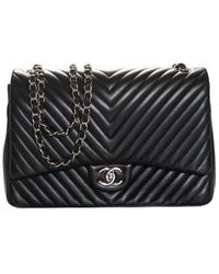Chanel Black Quilted Leather Classic Chevron Maxi Double Flap Bag