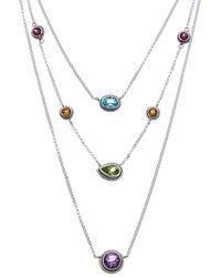 Samuel B. Jewellery Silver 3.80 Ct. Gemstone Three-row Necklace - Metallic