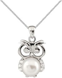 Splendid Rhodium Plated 8-8.5mm Freshwater Pearl Owl Pendant - Multicolour