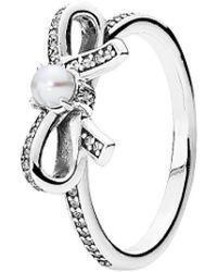 PANDORA Silver, White Pearl & Clear Cz Sentiments Ring - Metallic