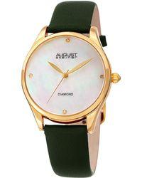 August Steiner Women's Diamond Marker Leather Watch - Multicolour