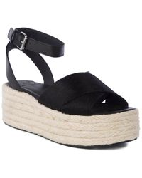 Seychelles Cadence Leather & Pony Hair Platform Sandal - Black