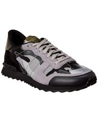 Valentino Rock Runner Camouflage Reflective Suede & Leather Trainer - Grey