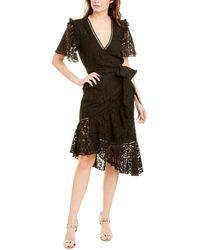 Keepsake Eternal Lace Short Sleeve Wrap Midi Dress - Black