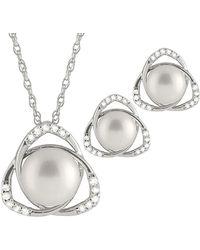 Splendid - Splendid Pearl & Czs Silver 8-10mm Freshwater Pearl & Cz Earrings & Necklace Set - Lyst