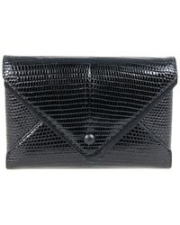 The Row Envelope Lizard-embossed Leather Wallet On Chain - Black