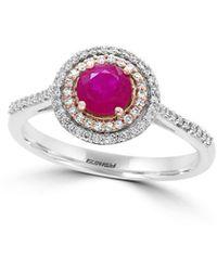 Effy Fine Jewellery 14k Two-tone 0.78 Ct. Tw. Diamond & Ruby Ring - Multicolour