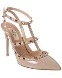 Valentino Rockstud Caged 100 Patent Ankle Strap Pump - Brown