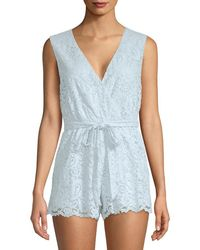 Lovers + Friends Miami Sleeveless Lace Romper - Blue