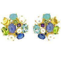 Arthur Marder Fine Jewelry Silver Gemstone & 6.5mm Pearl Earrings - Multicolour