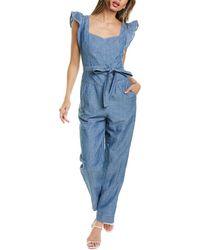 Rebecca Taylor Indigo Linen-blend Jumpsuit - Blue