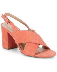 Pure Navy Suede Block-heel Sandal - Pink