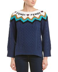 Fendi Cable-knit Wool & Cashmere-blend Sweater - Blue