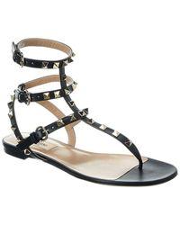 Valentino Valentino Garavani Rockstud Caged Leather Ankle Strap Sandal - Multicolor