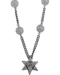 Swarovski Crystal Ruthenium Plated Necklace - Metallic