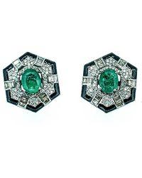 Arthur Marder Fine Jewelry 14k & Silver 7.45 Ct. Tw. Diamond, Emerald, & Enamel Earrings - Green