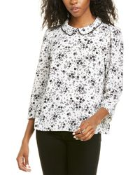 Cece By Cynthia Steffe 3/4-sleeve Delicate Floral Blouse - White