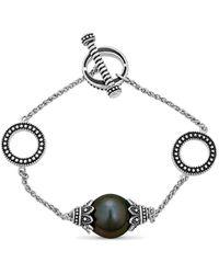 Belpearl Silver 12mm Tahitian Bracelet - Metallic