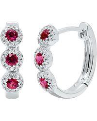 Diana M. Jewels . Fine Jewellery 14k 0.44 Ct. Tw. Diamond & Ruby Hoop Earrings - Metallic