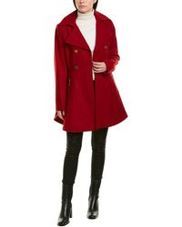 Laundry by Shelli Segal Melton Fit & Flare Wool-blend Coat - Red