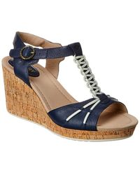Sperry Top-Sider Dawn Leather Wedge Sandal - Blue