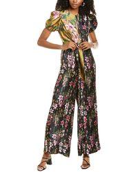 ML Monique Lhuillier Floral Jumpsuit - Black