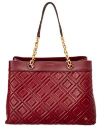 Tory Burch Fleming Leather Triple-compartment Tote - Red