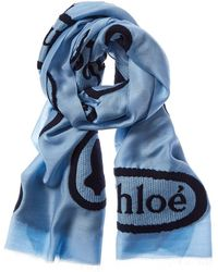 Chloé Embroidered Wool & Silk-blend Scarf - Blue