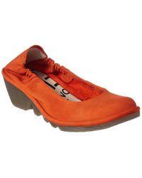 Fly London Pled Leather Wedge - Orange