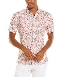 Loft 604 Floral Knit Button-down Shirt - White