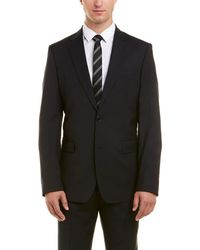 Versace Collection Wool Suit With Flat Front Pant - Black