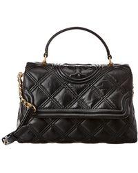 Tory Burch Fleming Soft Leather Top Handle Satchel - Black